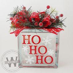 lighted glass block wvinyl lettering - Christmas Glass Blocks