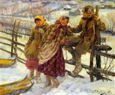 """Children with Sledges"" - by  Fedot Vasilievich Sychkov, (1870-1958, Russian)"