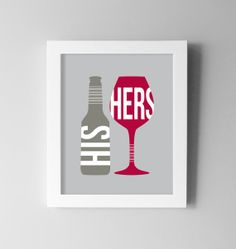 Wine Dining Room Wall Art - Beer Kitchen Print - Modern Digital Print / Poster - His and Hers - Kitchen Dining Decor 8x10 on Etsy, $17.25 AUD