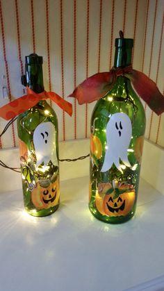Halloween Lighted Wine Bottles