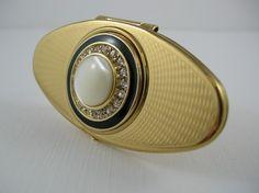 Vintage 1950s Guilloche  Enamel Mirror Lipstick Holder Case STRATTON Art Deco