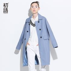 a810040e34f Toyouth Trench Coat 2017 Spring Women Turn Down Collar Coats Loose Straight  Double-Breasted Overcoats(China)
