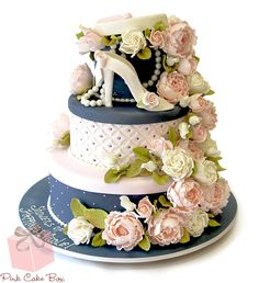 Hat Box and Flower Bridal Shower Cake by Pink Cake Box