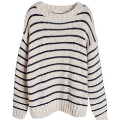 Crew-Neck Striped Sweater ($50) ❤ liked on Polyvore featuring tops, sweaters, yesstyle, acrylic sweater, navy blue top, navy blue sweater, striped crewneck sweater and crew sweater
