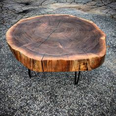 Walnut cookie coffee table - clear coated with mid century modern hairpin legs by barnboardstore.com