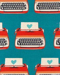 Melody Miller Ruby Star Shining Typewriters , Red on Deep Aqua Blue . Retro Pattern, Pattern Design, Print Design, Design Design, Textile Prints, Textile Patterns, Pretty Patterns, Color Patterns, Pattern Illustration