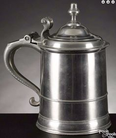 Pook & Pook 1/15/16 Lot: 231.  Estimated: $8,000 - $12,000.  Realized Price: $21,600.  Description: Boston, Massachusetts pewter tankard, ca. 1750, bearing the touch of Robert Bonnynge (Bonning or Bonynge), 7 1/2'' h. Provenance: The Collection of Jeanne and Bernard B. Hillmann, Wyckoff, New Jersey.  Condition: Good condition. Light wear. No other apparent condition issues.