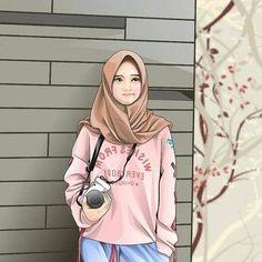 Hum, qu'est ce que je vais photographiée ? Anime Muslim, Muslim Hijab, Muslim Girls, Muslim Women, Cover Wattpad, Hijab Drawing, Islamic Cartoon, Hijab Cartoon, Cute Girl Wallpaper
