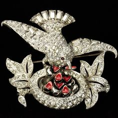 MB Boucher Pave Baguettes and Enamel Mother Bird on Nest Feeding her Chicks Pin