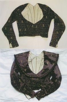 1790-1800 bodice / spencer, brocaded silk satin, České muzeum stříbra, Kutná Hora
