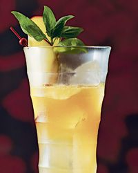 Sugar Hill Punch  2 ounces amber rum 1/2 ounce apricot liqueur 2 ounces mango nectar or juice 1 ounce fresh lime juice 1/2 ounce Simple Syrup 4 basil leaves, torn, plus 1 basil sprig for garnish 2 dashes of Angostura bitters 1 mango slice, for garnish
