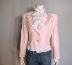 1980s Babydoll Pink Satin and Pearls Tuxedo Cropped Jacket top