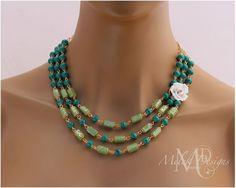 White Rose Green Multi Strand Necklace | Melekdesigns - Jewelry on ArtFire