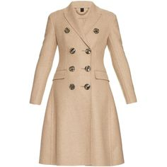 Burberry Prorsum Double-breasted cashmere coat ($3,530) ❤ liked on Polyvore featuring outerwear, coats, jackets, beige, burberry coat, beige coat, flare coat, double breasted coat and burberry