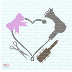 Blowdryer svg Blowdryer Monogram Frame svg by HomeberriesSVG