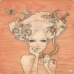 I love Audrey Kawasaki's work very much. This isn't my favorite piece, but it's a good example of how she juxtaposes pretty girls with unconventional nature elements that make us question our pre-existing judgments about what is beautiful and what we should fear.