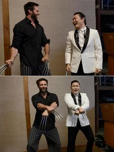 "Psy visits Hugh Jackman on 'The Wolverine' set--(This just made me say ""What? What? Whatwhatwhat?"" while smiling really big.)"