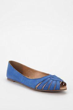 Kimchi Blue Leather Peep-Toe Skimmer