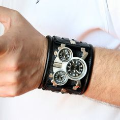 "Mens wrist watch bracelet ""Tuareg-4""- Steampunk Watch - SALE - Worldwide Shipping - gifts for him - Leather cuff wrist watch"
