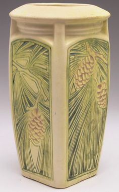 """Weller Roma vase, four-sided shape with pine cone and pine needle designs, marked, 5.5""""w x 10""""h"""
