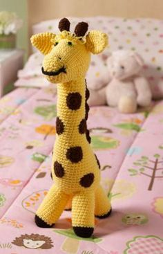 Love My Giraffe Toy Free Crochet Pattern from Red Heart Yarns