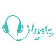 Silhouette Design Store: headphone music phrase