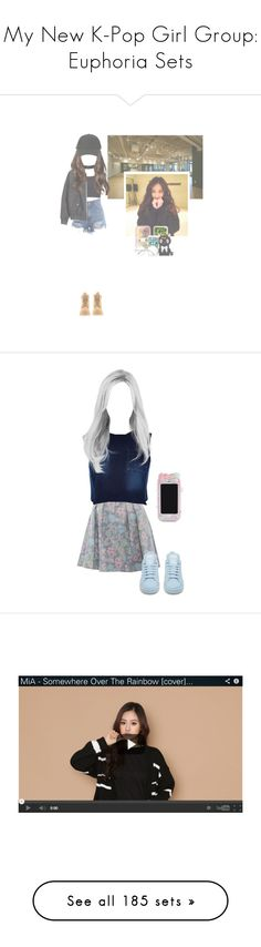 """My New K-Pop Girl Group: Euphoria Sets"" by fangirlkaly8102 ❤ liked on Polyvore featuring art, Marc by Marc Jacobs, River Island, adidas, miacovers, miaonyoutube, miaoninstagram, Timberland, Suck and adidas Originals"
