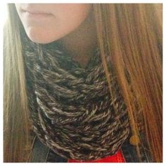 Adult single arm knitted infinity scarves.