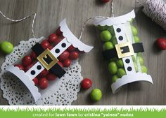 Lawn Fawn - Pillow Box die, Santa's Belly die set _ Yainea made Pillow Boxes with clear acetate; great idea!