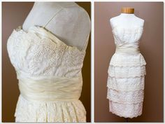 Vintage Ivory Lace Organza Eyelet Cocktail Dress Wedding Dress or Gown Vintage 60s Shelf Bust Layered Knee Length Skirt Runway Fashion Show by LOVEbyAprilLeigh on Etsy
