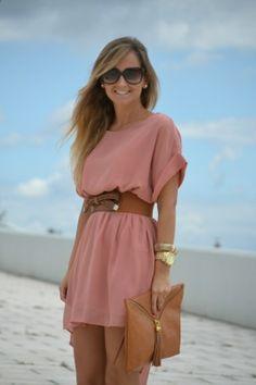 Soft Pink belted dress