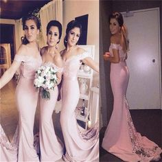 Cheap Long Mermaid Pink Off Shoulder Pretty Small Tail Most Popular bridesmaid dresses ,PD0241