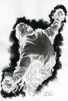 Alex Ross- Human Torch Variant cover Comic Art