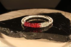 *Exclusives Armband *Shamballa*Strass*Metall*Rot Weiss*Flexarmband*Magisch**