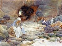 Beach scene by Walter Langley