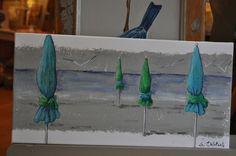 Parasols bleu et turquoise