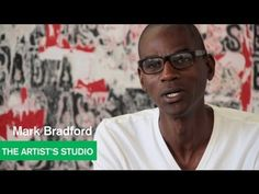 "▶ ""Bad Ass"" Painting by Mark Bradford in the Studio - The Artist's Studio - MOCAtv - YouTube"