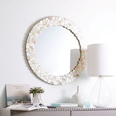 Capiz Round Shimmer Mirror - West Elm via Keep Diy Wall Art, Home Decor Wall Art, Room Decor, Furniture Sale, Modern Furniture, Cream Living Rooms, Artwork For Home, Sunburst Mirror, Home Decor Shops