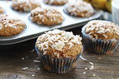 Whole Wheat Banana Coconut Muffins {Vegan}. Whole Wheat Banana Coconut Muffins {Vegan} Recipes Our family loves these healthy muffins! Coconut Muffins, Banana Coconut, Peanut Butter Banana, Healthy Muffins, Coconut Sugar, Coconut Cream, Healthy Snacks, Muffin Recipes, Snack Recipes