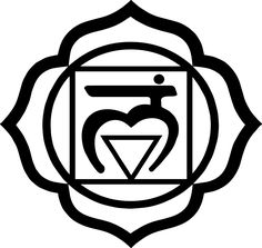 Muladhara 1 Chakra symbol, or root chakra is symbolized by a lotus with four petals and the color red. This center is located at the base of the spine in the coccygeal region. It is said to relate to the gonads and the adrenal medulla, responsible for the fight-or-flight response when survival is under threat.
