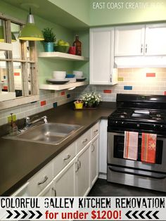East Coast Creative: Colorful Kitchen Renovation {Knock It Off} Galley Kitchen Reno for 1200 Kitchen Cabinet Colors, Painting Kitchen Cabinets, Kitchen Paint, Kitchen Redo, Kitchen Colors, Kitchen Dining, Kitchen Remodel, Kitchen Ideas, Open Kitchen