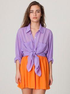 Chiffon Oversized Button-Up | Colorful Chiffon | New & Now's Women | American Apparel