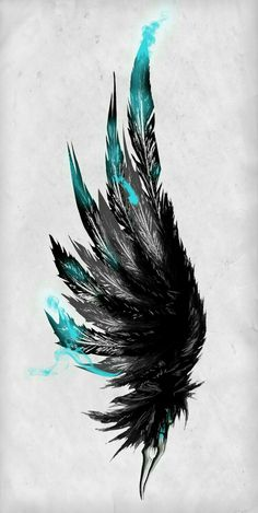 Blue and black feather