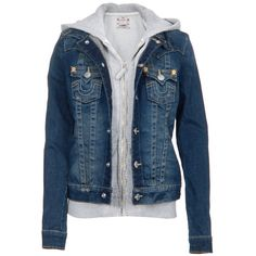 True Religion Denim Jacke Hoodie Grey ❤ liked on Polyvore