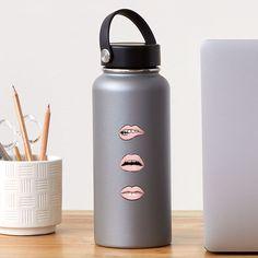 'Pink Lips' Sticker by MadoMade School Fun, Back To School, School Items, School Essentials, Lip Designs, Pink Lips, Some Fun, Zipper Pouch, Water Bottle