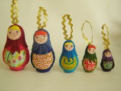 Matryoshka doll ornaments - Nesting Doll Ornaments - Pattern Download and Tutorial