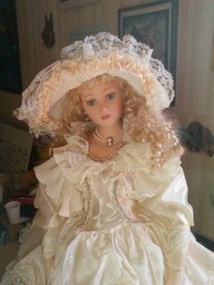 Porcelain doll - white dress