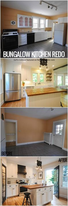 This bungalow kitchen renovation went from dated yet charming to modern but homey, maintaining the original charm while updating the layout and making it more functional, such as adding a pantry. Get the details from SoPo Cottage on Remodelaholic.com