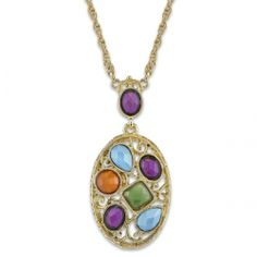 Mykonos Bejeweled Colors Oval Pendant Necklace