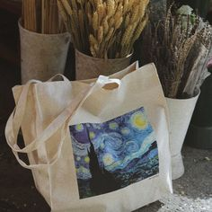vincent van gogh, the starry night, tote bag, canvas bag, beach bag, cotton bag, plastic free bag, art bag, post impressionism, impressionism, impressionist by tit & nat, reusable bag, shopping bag, shopper bag, street style bag, eco friendly bag, flower shop Eco Friendly Bags, Art Bag, Post Impressionism, Shopper Bag, Reusable Bags, Cotton Bag, Vincent Van Gogh, Throw Pillows, Night